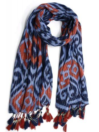 Foulard coton arabesques et pompons