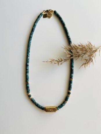 Collier doré pampa pierres naturelles et charm