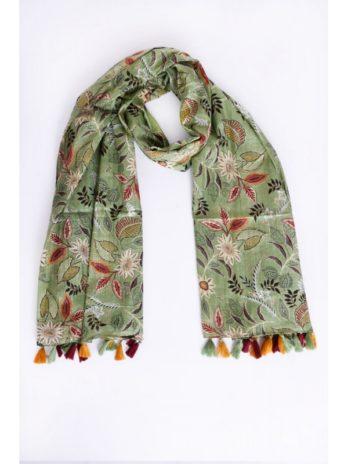 Foulard coton fleurs indiennes et pompons