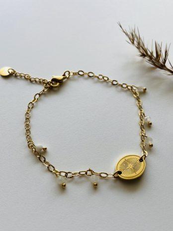 Bracelet doré pampa médaille pierres naturelles