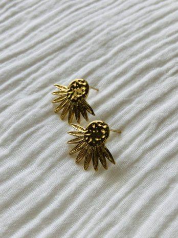 """Boucles d'oreilles """"collection coton"""" soleil doré"""