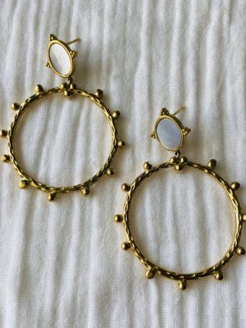 """Boucles d'oreilles """"collection coton"""" couronne avec nacre"""