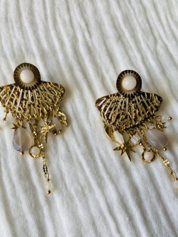 """Boucles d'oreilles """"collection coton"""" pierres naturelles et papilles"""