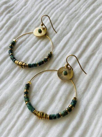 """Boucles d'oreilles """"collection coton"""" avec jaspe africaine"""