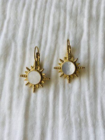 """Boucles d'oreilles """"collection coton"""" soleil finition nacre"""