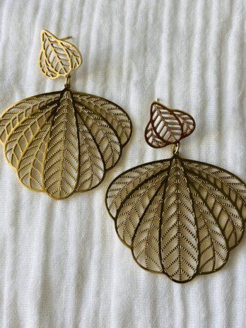 """Boucles d'oreilles """"collection coton"""" feuilles ciselées"""