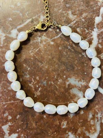 Bracelet perles naturelles acier dorée